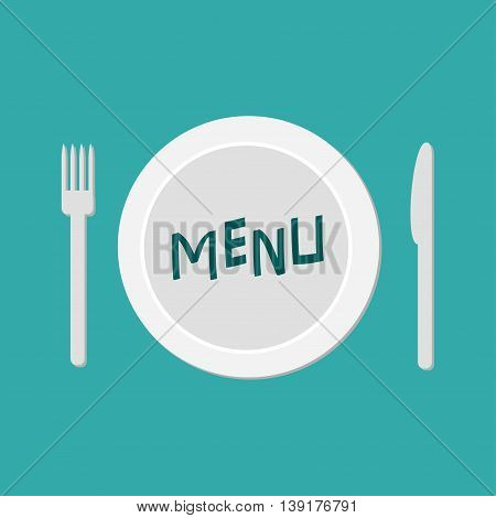 Plate with fork knife and chefs hat. Restaurant food dish. Menu card. Flat material design style. Green background. Vector illustration.