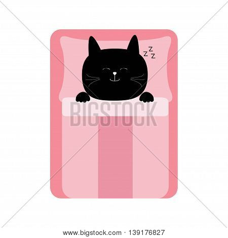Sleeping cat. Baby pet animal collection for kids. Cute cartoon character. Bed pink blanket and pillow. White background. Isolated. Flat design. Vector illustration