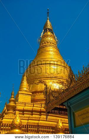 Golden Stupa In A Small Town Sagaing, Myanmar