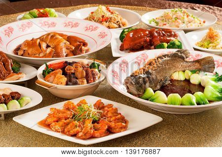 Festival fortune lunch or dinner buffet in Chinese style in asia
