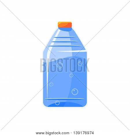 Plastic Bottle With Clear Water Flat Bright Color Primitive Drawn Vector Icon Isolated On White Background