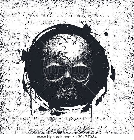 Grunge Black and White Distress Texture . Scratch Texture . Dirty Texture . Wall Background with skull. Hand drawn. Jpeg version.