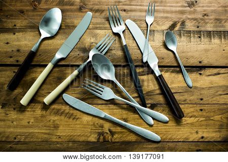 A fork and a knife and spoon