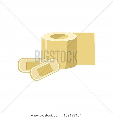 Toilet Paper And Band-aids Flat Bright Color Primitive Drawn Vector Icon Isolated On White Background