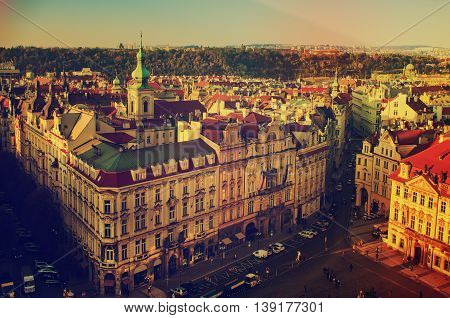 Old Town Square in eastern european Czech capital Prague - view from Town Hall, travel hipster background