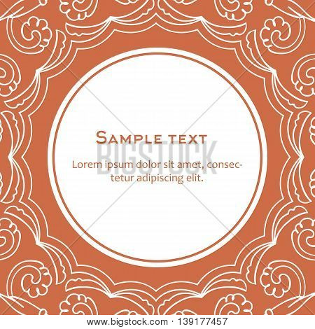 Vector background with frame and celtic ornament. Template for menu, gift card or packing. Orange color