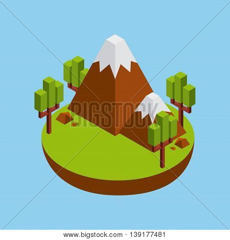 Isometric concept represented by green tree and mountain icon. Colorfull and geometric illustration.