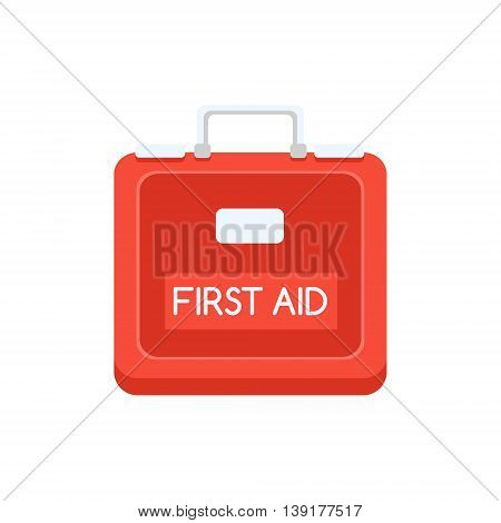 Red Plastic First Aid Kit Flat Bright Color Primitive Drawn Vector Icon Isolated On White Background