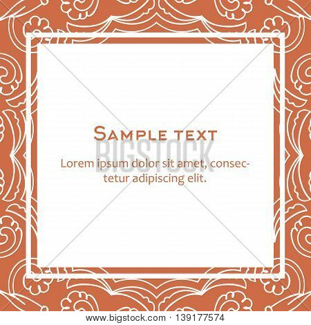 Vector background with square frame and celtic ornament. Template for menu gift card or packing. Orange color