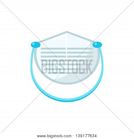 White Protecting Medical Face Mask Flat Bright Color Primitive Drawn Vector Icon Isolated On White Background