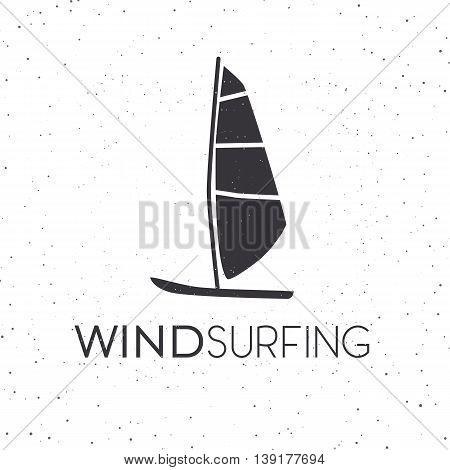 Vector illustration of windsurfing board. Wind surfing icon or favicon. Web design