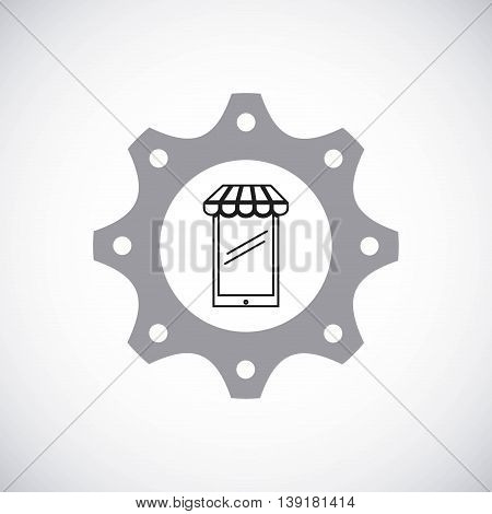 Gear design with smartphone commerce icon inside. Colorfull and flat illustration.