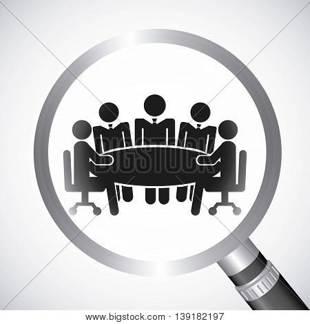 Businesspeople concept represented by pictogram and lupe icon. Isolated illustration.