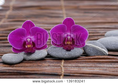 Set of gray stones with pink orchid. on mat