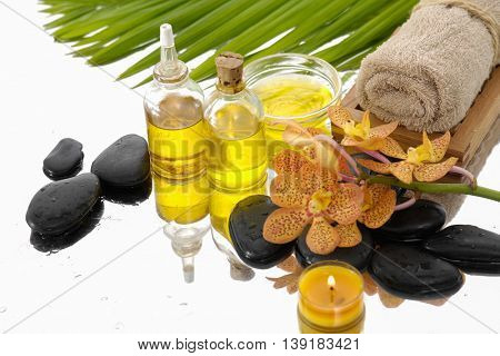 Spa setting Background with green palm