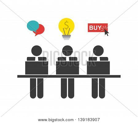 Businesspeople concept represented by pictogram bubble bulb buy button icon. Isolated and flat illustration.