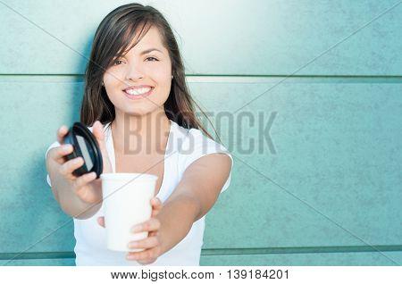 Pretty Lady Smiling Offering Fresh Coffee