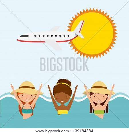 Swimming and pool party concept represented by girls sun airplane sea icon. Colorfull and flat illustration.