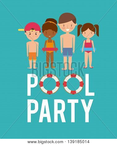 Swimming and pool party concept represented by kids cartoon and float icon. Colorfull and flat illustration.