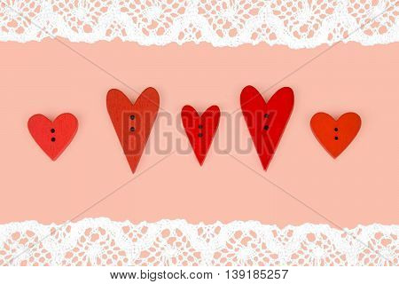 Red Valentines Hearts On Color Background With Lace. Post Card With Lace And Red Hearts. Post Card F