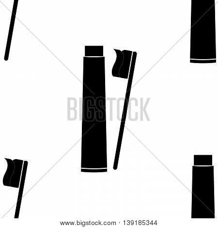 Seamless pattern for wrapping food products. The oral hygiene toothbrush and toothpaste. Vector illustration