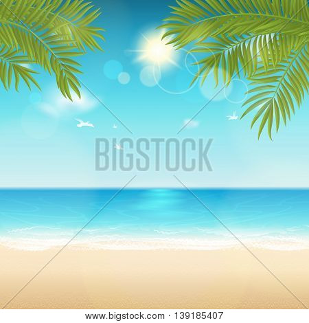 Vector summer background with space for text. Blur effect. Easy editable - all elements are separated. File contains clipping mask.