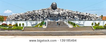 Quang Nam, Vietnam, June 26th, 2015: Architectural beauty statue women hero, this is biggest in Southeast Asia monument is made of granite 101m 18m high dragon in attracting tourists to admire