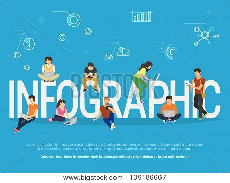 Infographic concept illustration of young people using laptop, tablet and smartphone for studying and education. Flat people learn new things with infographics methods such as graph, chart and diagram