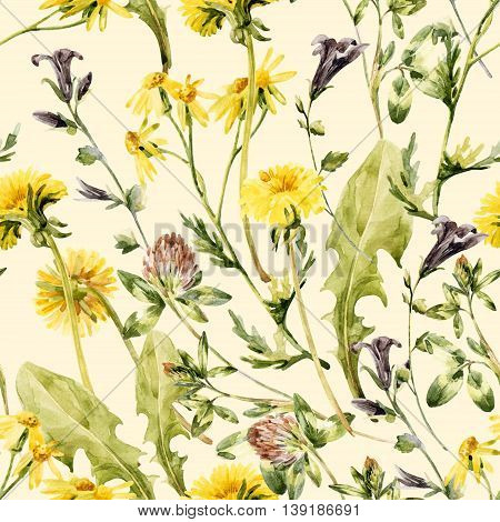 Watercolor wild field flowers. Meadow flowers seamless pattern. Watercolor wild bellflowers dandelion daisy weeds and herbs background. Hand painted natural illustration in vintage pastel colors