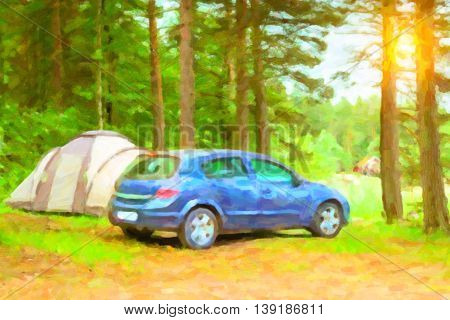 Summer outdoor recreation Scandinavian vacation. Blue Car parked in a wooded campsite among pine trees. Finnish Gulf. Area for camp in woods. Hamina Finland Suomi. Photo stylized pictorial representation