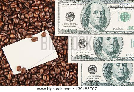 Money Dollars And Coffee Beans Background With Empty Card