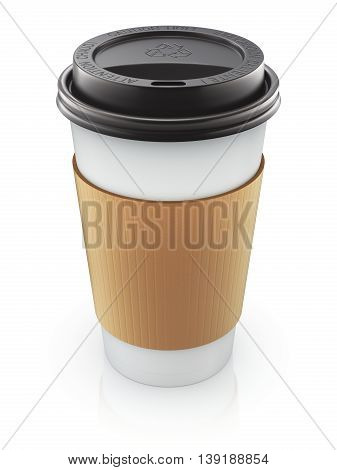 Take-out coffee in thermo cup with the lid - 3D illustration