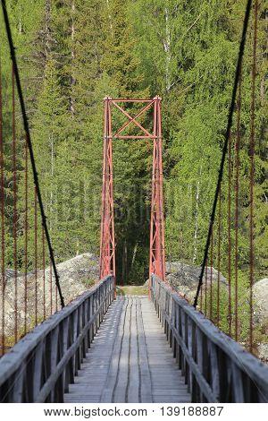 Small Suspension Bridge In Jaemtland In Sweden