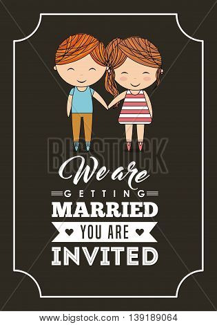 Invitation and save the date concept represented by cute couple cartoon of girl and boy icon. Colorfull and frame illustration.