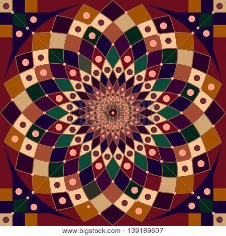 Geometric ornament abstracted mandala, summer art illustration