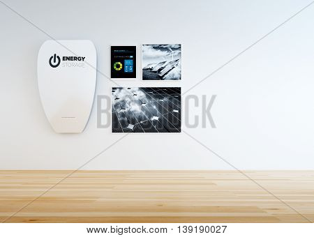 3D rendering of modern minimalistic home interior with hi-capacity wall battery control panel and black and white pictures of renewable energy.