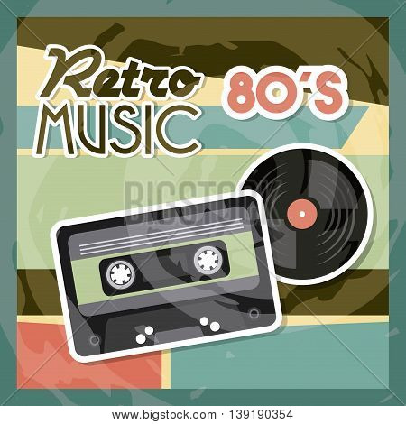 Retro and Music concept represented by cassette vinyl  icon. Colorfull and vintage illustration.