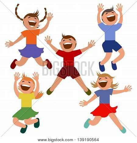 Set of kids jumping with joy. Vector illustration. Grouped for easy editing.