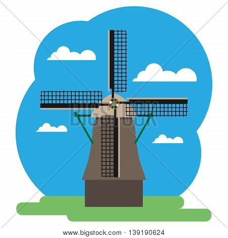 Vector illustration of windmill. Grouped for easy editing.