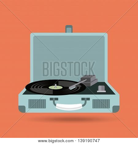 Retro and Music concept represented by vinyl player and icon. Colorfull and vintage illustration.