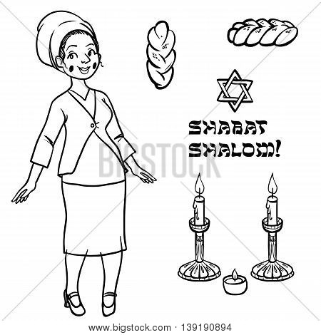 cute jewish religion woman with hala candles and shabat