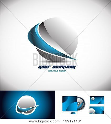 Vector company logo icon element template 3d sphere blue grey silver swoosh design