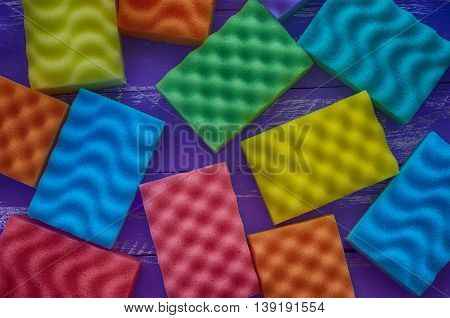 Multi-colored rectangular sponge for washing and cleaning