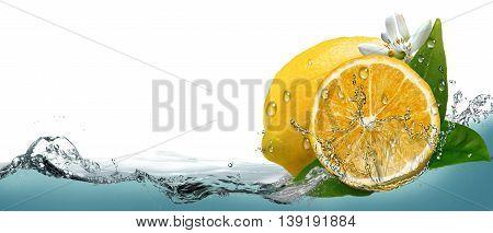 Juicy, ripe citrus lemon on a background of splashing water.
