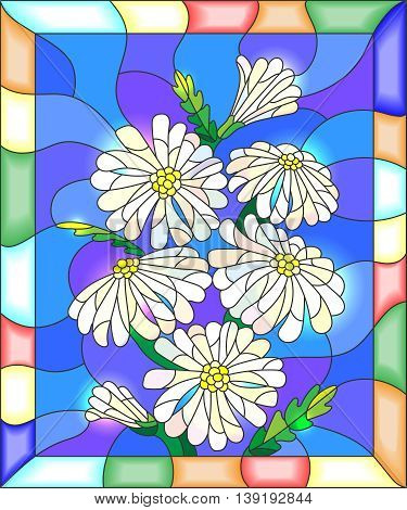 Illustration in stained glass style with flowers buds and leaves of chamomile