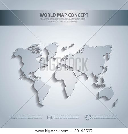 World and Map concept represented by earth icon. White and illuminated illustration.
