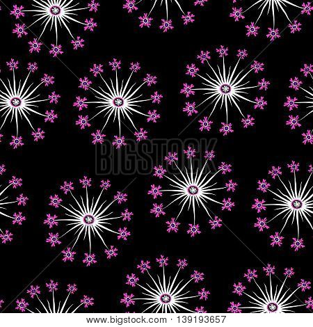 Pink And Black Dandelion Seamless Pattern