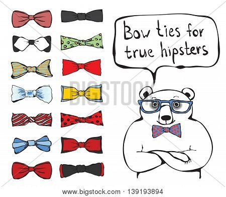 Set of vector tie-bow with hipster bear