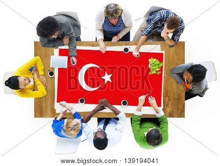 Turkey National Flag Business Team Meeting Concept