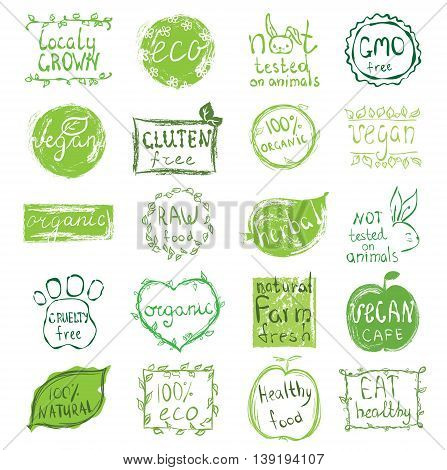 Set of 100% eco, natural product, bio, organic, vegetarian, vegan labels. Vector restaurant menu logo, badges templates